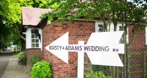 sign post for bride and groom