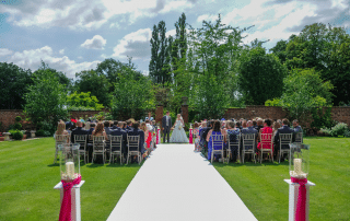 Outdoor ceremony at Colshaw Hall